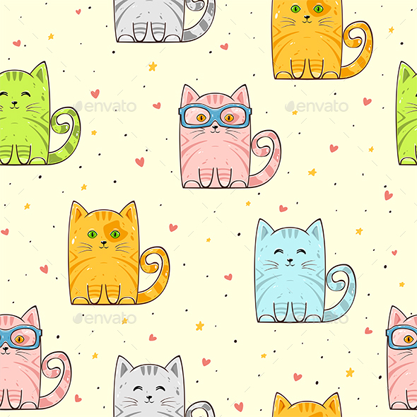 Seamless Background with Cats and Hearts - Animals Characters