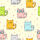 Seamless Background with Cats and Hearts - GraphicRiver Item for Sale