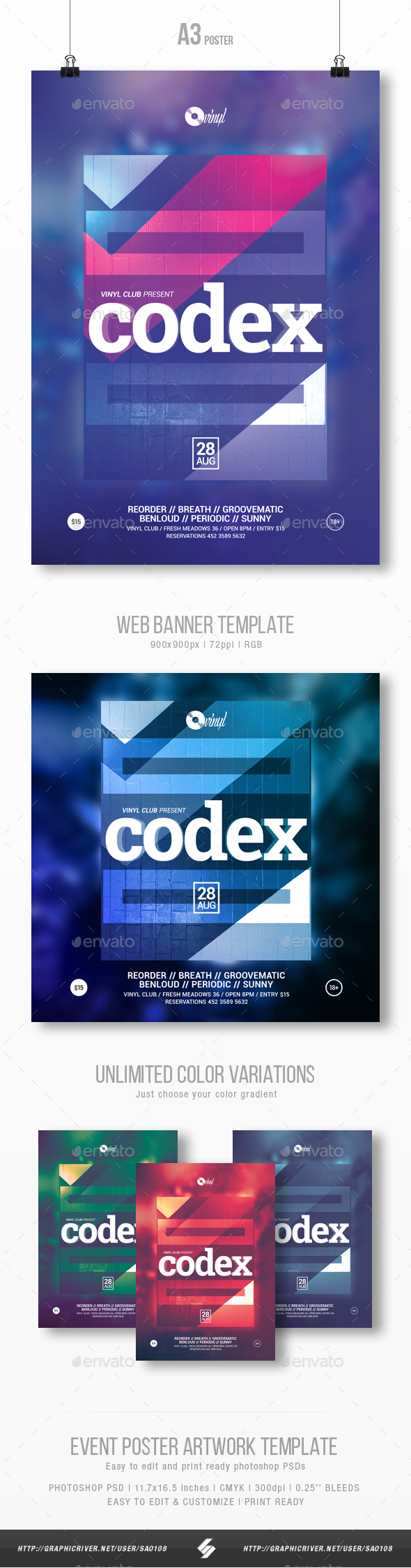 Codex vol.3 - Techno Party Flyer  Template A3 - Clubs & Parties Events