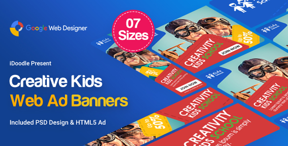 Kids Creative & School Banners Ad - Google Web Designer - CodeCanyon Item for Sale