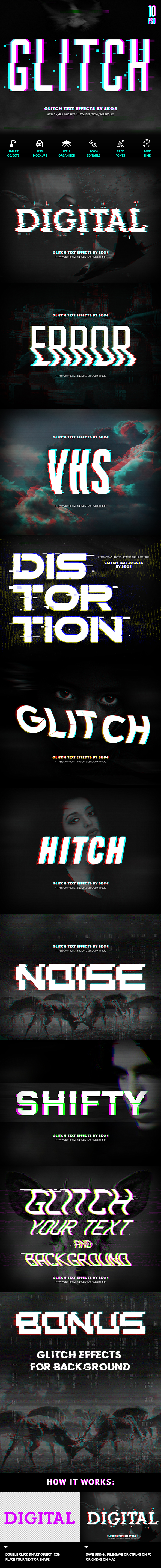 Glitch Text + Glitch Background FX - Text Effects Actions