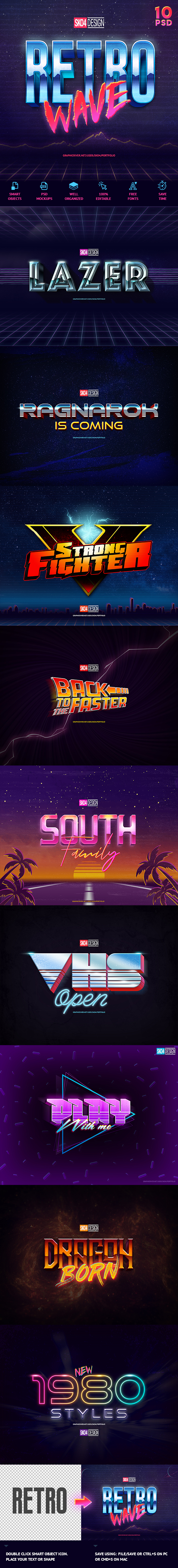 80s Text Effects - 10 PSD - Text Effects Actions