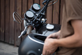 biker guy isits on classic style motorcycle - PhotoDune Item for Sale