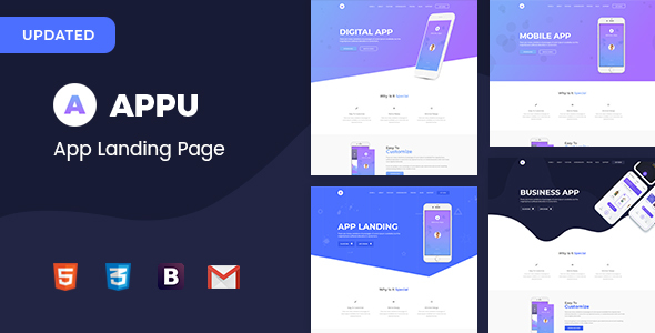 Appu App Landing Page - Technology Site Templates
