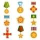 Flat Vector Set of Military Medals