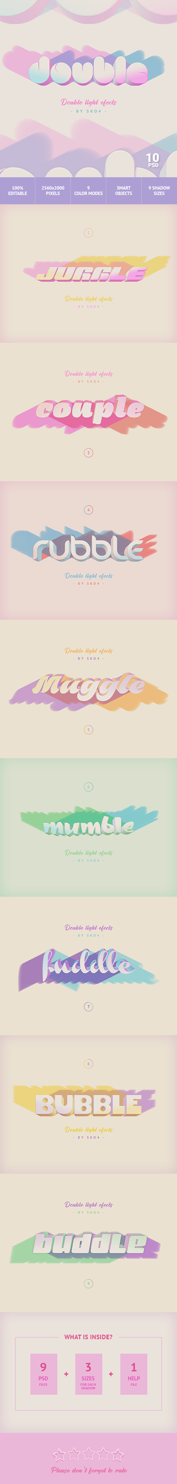 3D Text with Color Shadows - Text Effects Actions
