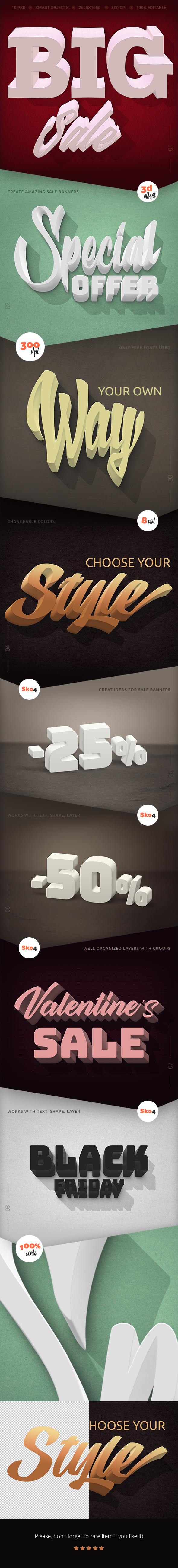 3D Effects - 8 PSD Mockups - Text Effects Actions