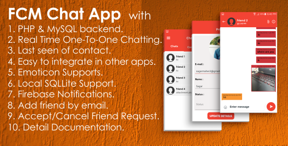 FCM One-to-One Chat App with PHP, MySQL | Native Android Studio            Nulled