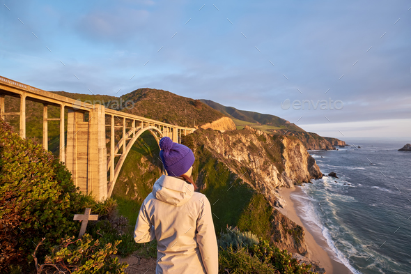 Woman tourist near Bixby Creek Bridge in California - Stock Photo - Images