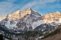 Maroon Bells mountains in snow at sunrise - PhotoDune Item for Sale
