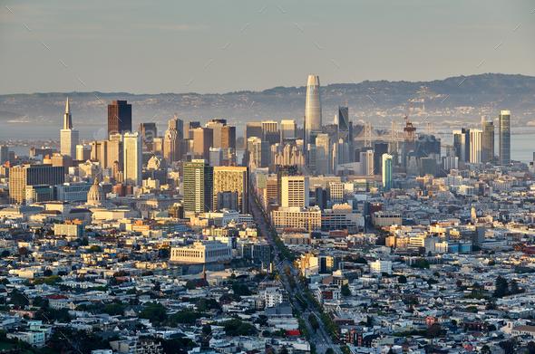 San Francisco skyline, California - Stock Photo - Images
