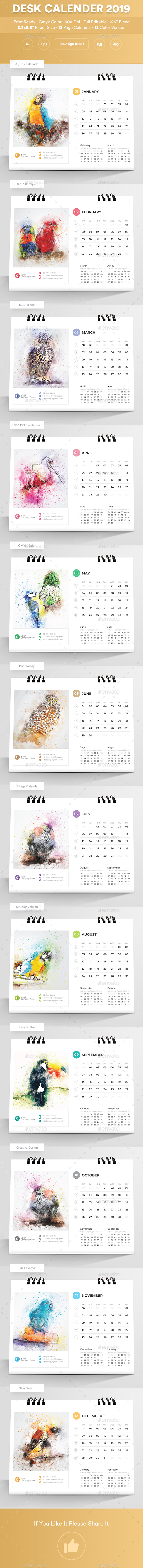 Desk Calender 2019 - Calendars Stationery