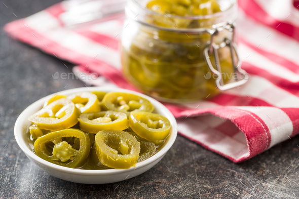 Slices of preserved Jalapeno pepper. - Stock Photo - Images