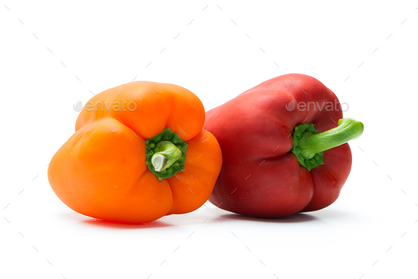 Red and orange pepper bell or paprika - Stock Photo - Images