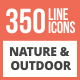 350 Nature & Outdoor Line Multicolor B/G Icons - GraphicRiver Item for Sale