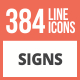 384 Sign Line Multicolor B/G Icons - GraphicRiver Item for Sale