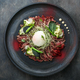 Beef Tataki with onsen egg, zucchini and mayo, restauran meal, copy space. - PhotoDune Item for Sale