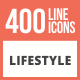 400 Lifestyle Line Multicolor B/G  Icons - GraphicRiver Item for Sale