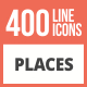 410 Places Line Multicolor B/G Icons - GraphicRiver Item for Sale