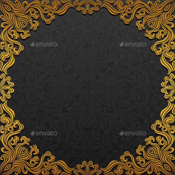Frame with Traditional Floral Ornament - Backgrounds Decorative