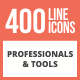 400 Professionals & their Tools Line Multicolor B/G Icons - GraphicRiver Item for Sale
