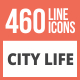 460 City Life Line Multicolor B/G Icons - GraphicRiver Item for Sale