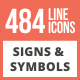 484 Signs & Symbols Line Multicolor B/G Icons - GraphicRiver Item for Sale