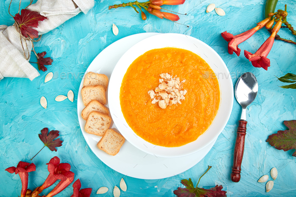 Cream of pumpkin soup. Thanksgiving Day. vegetarian - Stock Photo - Images