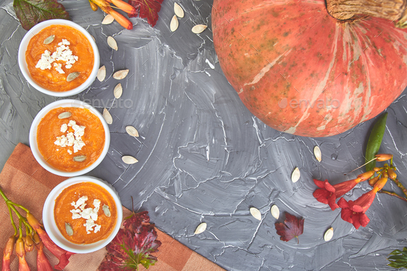 Cream of pumpkin soup or souffle. Thanksgiving Day. - Stock Photo - Images