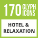 170 Hotel & Relaxation Glyph Inverted Icons - GraphicRiver Item for Sale