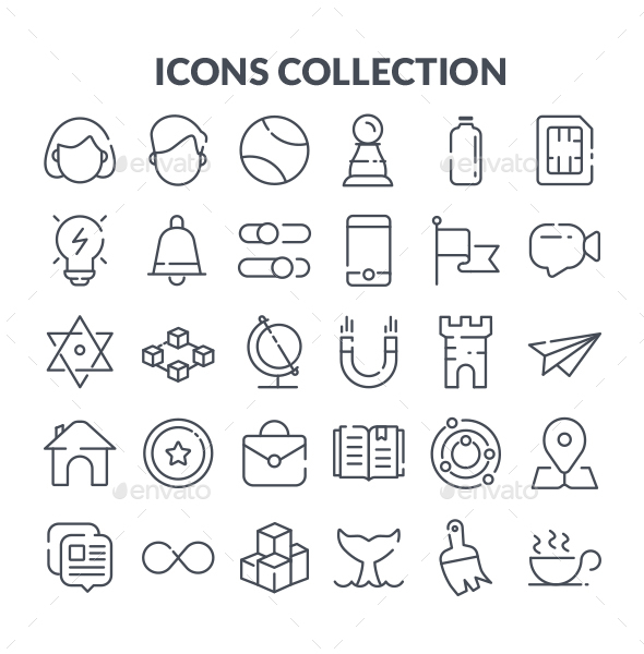 30 Line Icon Set - Web Icons