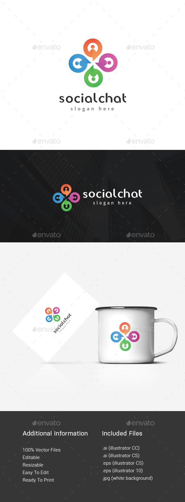 Social Media Chat Logo - Abstract Logo Templates