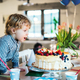 Free Download A boy standing on a chair, blowing out candles on a birthday cake. Nulled