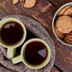 Two warm cups of tea, autumn leaves - PhotoDune Item for Sale