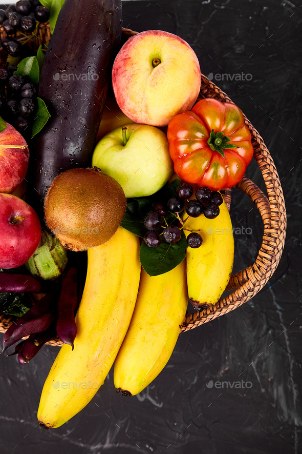 Healthy colorful food selection: fruit, vegetable, superfood, - Stock Photo - Images