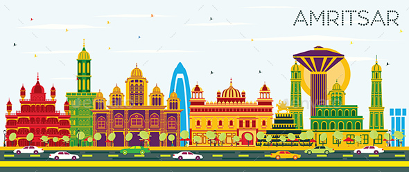 Amritsar India City Skyline with Color Buildings - Buildings Objects