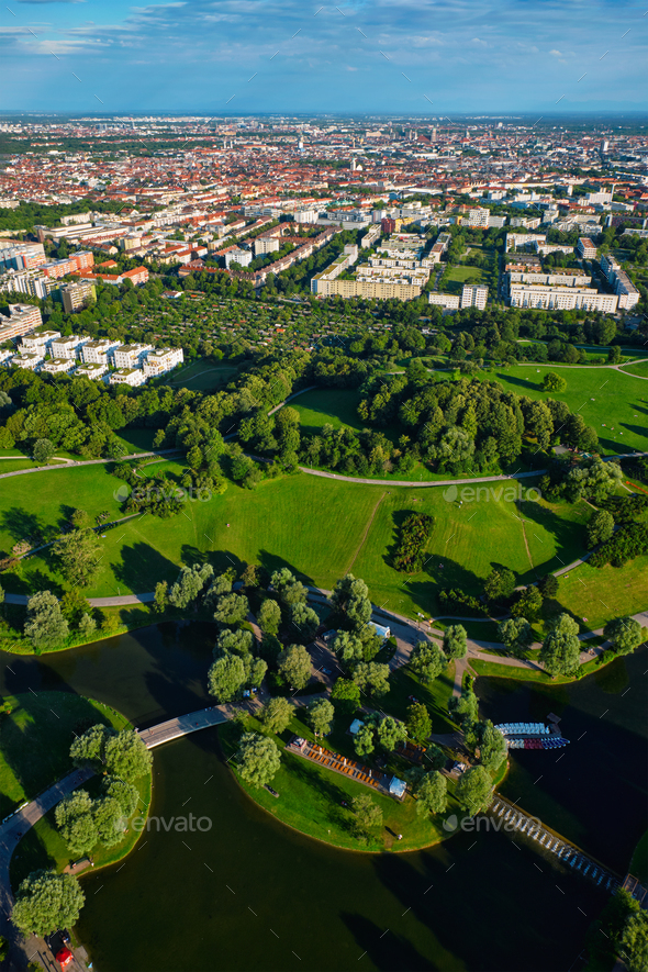 Aerial view of Olympiapark . Munich, Bavaria, Germany - Stock Photo - Images