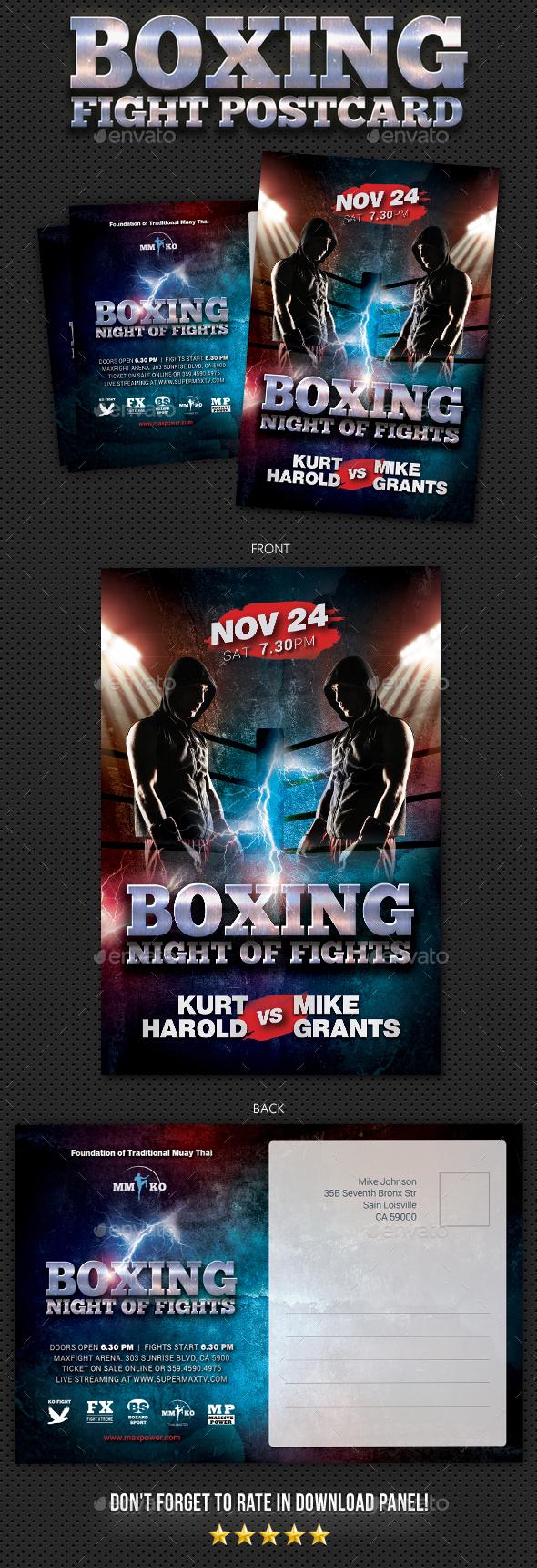 Boxing Muay Thai Postcard - Cards & Invites Print Templates