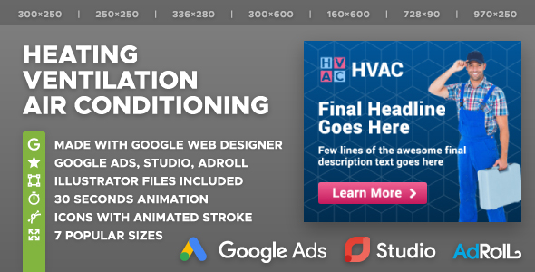 HVAC - Heating, Ventilation, Air Conditioning Company HTML5 Banner Ad Templates (GWD)            Nulled