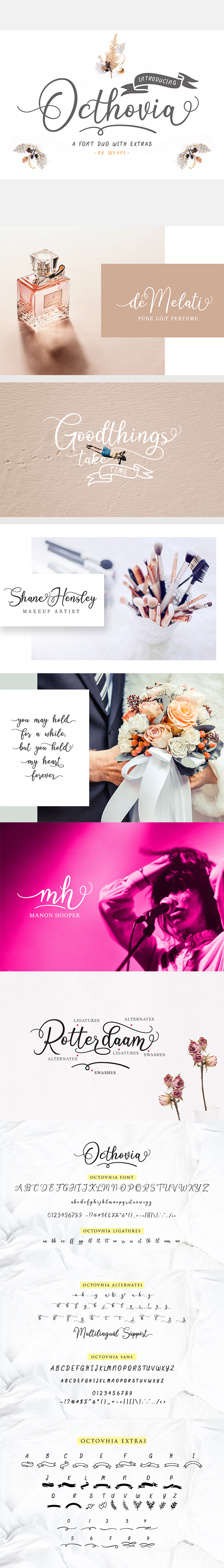 Octhovia Font Duo and Extras - Calligraphy Script