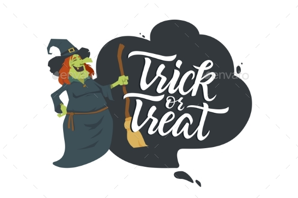 Trick or Treat - Modern Colorful Vector Poster - Halloween Seasons/Holidays