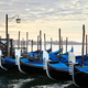 Gondolas in Grand Canal in the early morning in Venice, Italy - PhotoDune Item for Sale