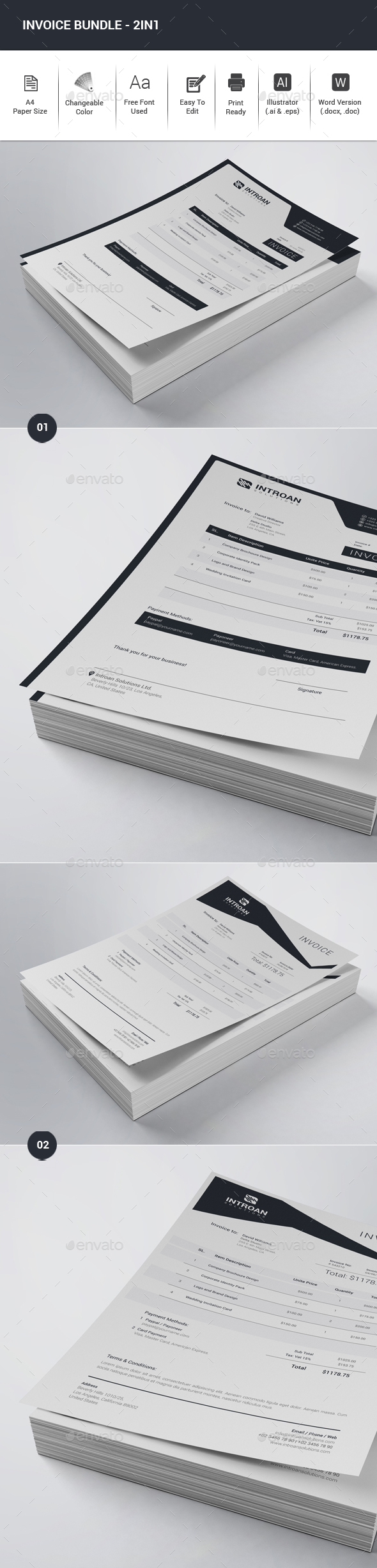 Invoice Bundle - 2in1 - Proposals & Invoices Stationery
