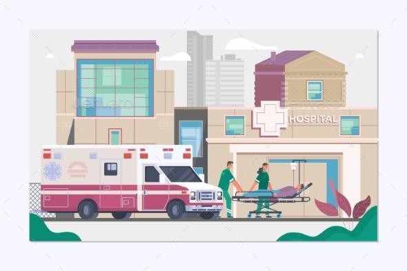 Medicine Ambulance Concept in Flat Style - Health/Medicine Conceptual