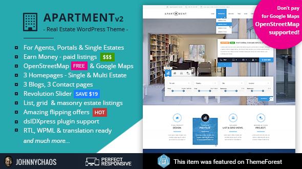 Apartment WP - Real Estate Responsive WordPress Theme for Agents, Portals, Single Property Sites - Real Estate WordPress