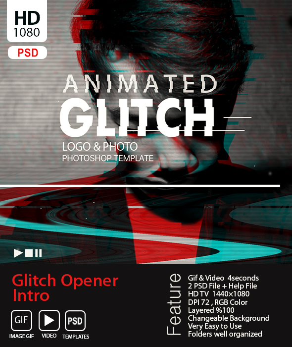 Animated Glitch Text - Logo -Image  Photoshop Template - Photo Effects Actions