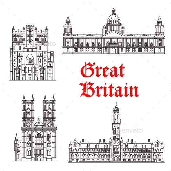 Architecture Landmarks of Great Britain Vector - Buildings Objects