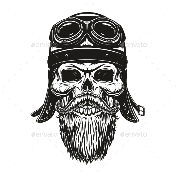 Biker Skull Sketch in Helmet and Glasses - Monsters Characters