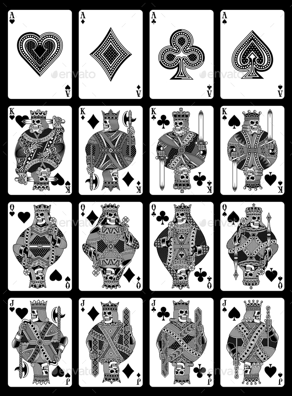 Skull Playing Cards Set in Black and White - Sports/Activity Conceptual