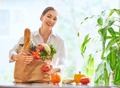 woman holding grocery shopping bag - PhotoDune Item for Sale